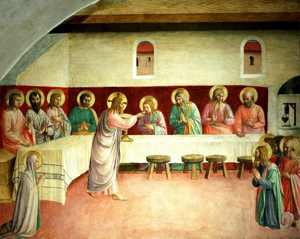 In this image by Fra Angelico, Jesus Christ celebrates his first Mass and distributes Holy Eucharist at the Last Supper.