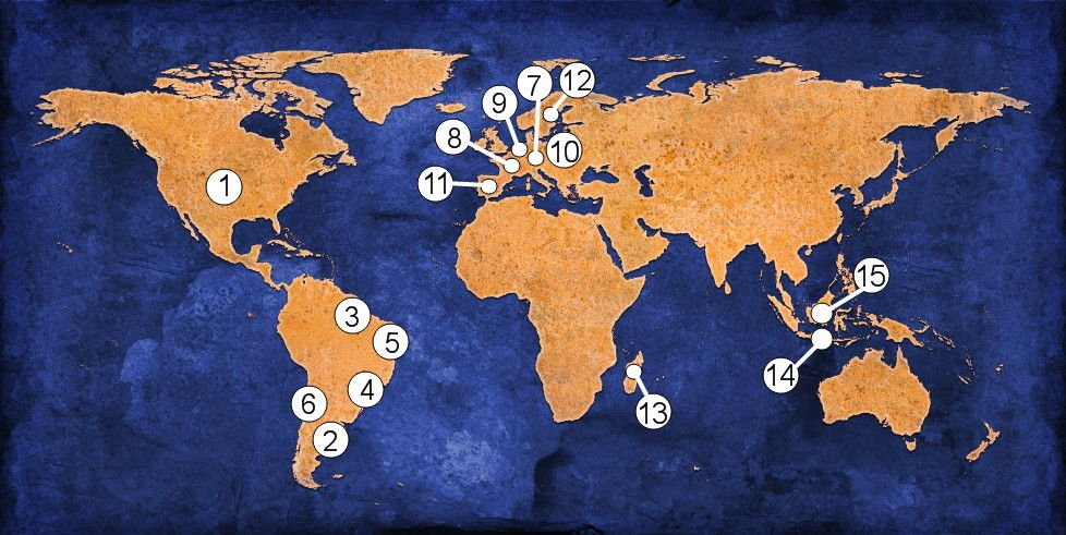 This world map shows where the 15 provinces of the Missionaries of the Holy Family are located.